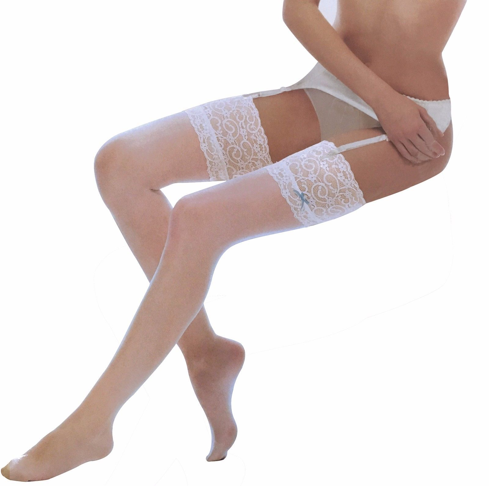 Womens Sexy 10 Den Vintage Deep Lace Top Thigh High Suspender Stockings with Bow