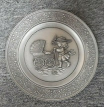 Vtg 1980 Ltd Edit Hallmark Pewter Plate - Child with Baby Carriage -Trac... - $23.76