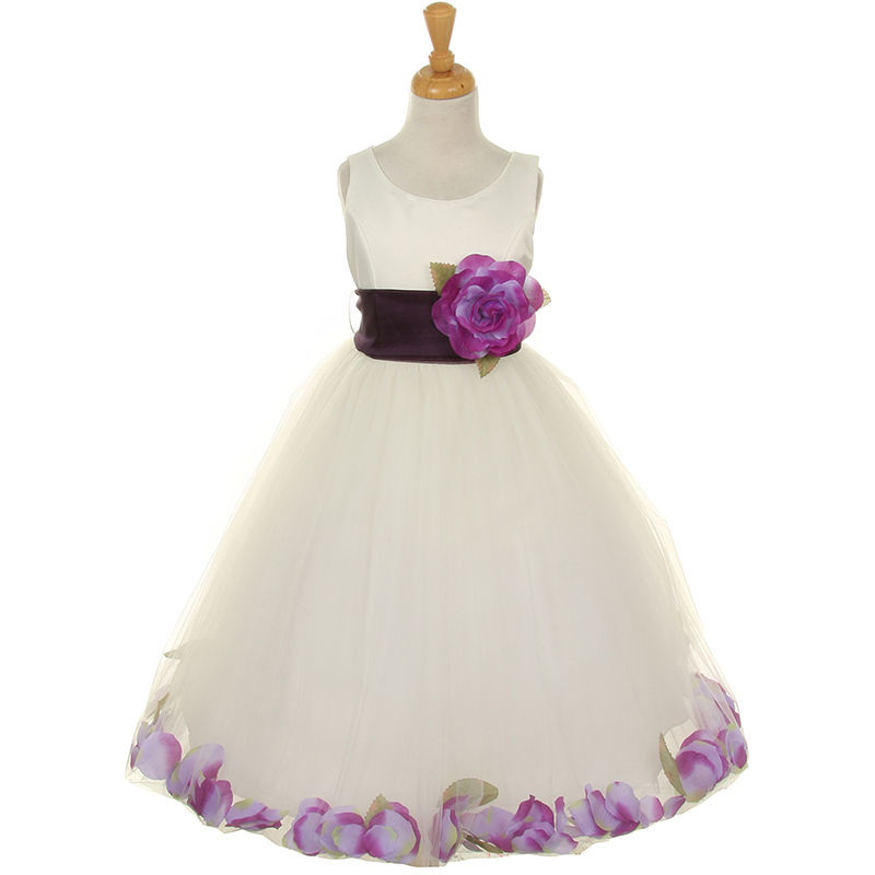 Ivory Satin Bodice Layers Tulle Skirt Champagne Flower Brooch Petals Girl Dress