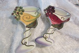 2 CLAY ART wine glass shaped ceramic dishes, great for hors d'oeuvres (dish) - $18.70