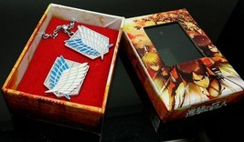 Attack on Titan Scouting Legion silver Brooch and Necklace set Cosplay Accessory - $9.49