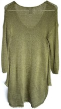 Quinn Francesca's Women's Army Green Fringe Trim Trapeze Pullover Sweater Size M image 2