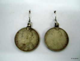vintage antique tribal old silver earrings coin earrings queen victoria - $137.61