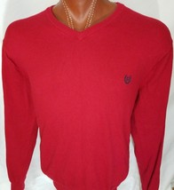 Ralph Lauren Chaps Mens Red V-Neck Sweater Cotton Cashmere Size XL X-Large - $30.26