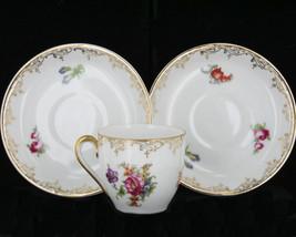 Vintage Dresden Wild Flower Floral Fine Demitasse cup &Saucers  Czechoslovakia - $35.99
