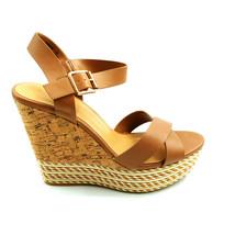 Bamboo Woman Choice 47 Ankle Strap Platform High Wedge Sandal Tan Sz 10 ... - $20.77