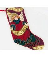 Needlepoint Christmas Stocking Angel Embellished Beaded Joy Red Velvet  - $59.39