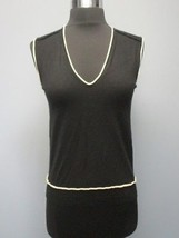 YVES SAINT LAURENT Black Cream V Neck Wool Sleeveless Sweater Vest Sz M ... - $123.55