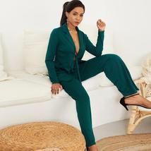 Women's Stylish Blue Blazer and Pants Fashion Wear To Work  Pant Suit image 7