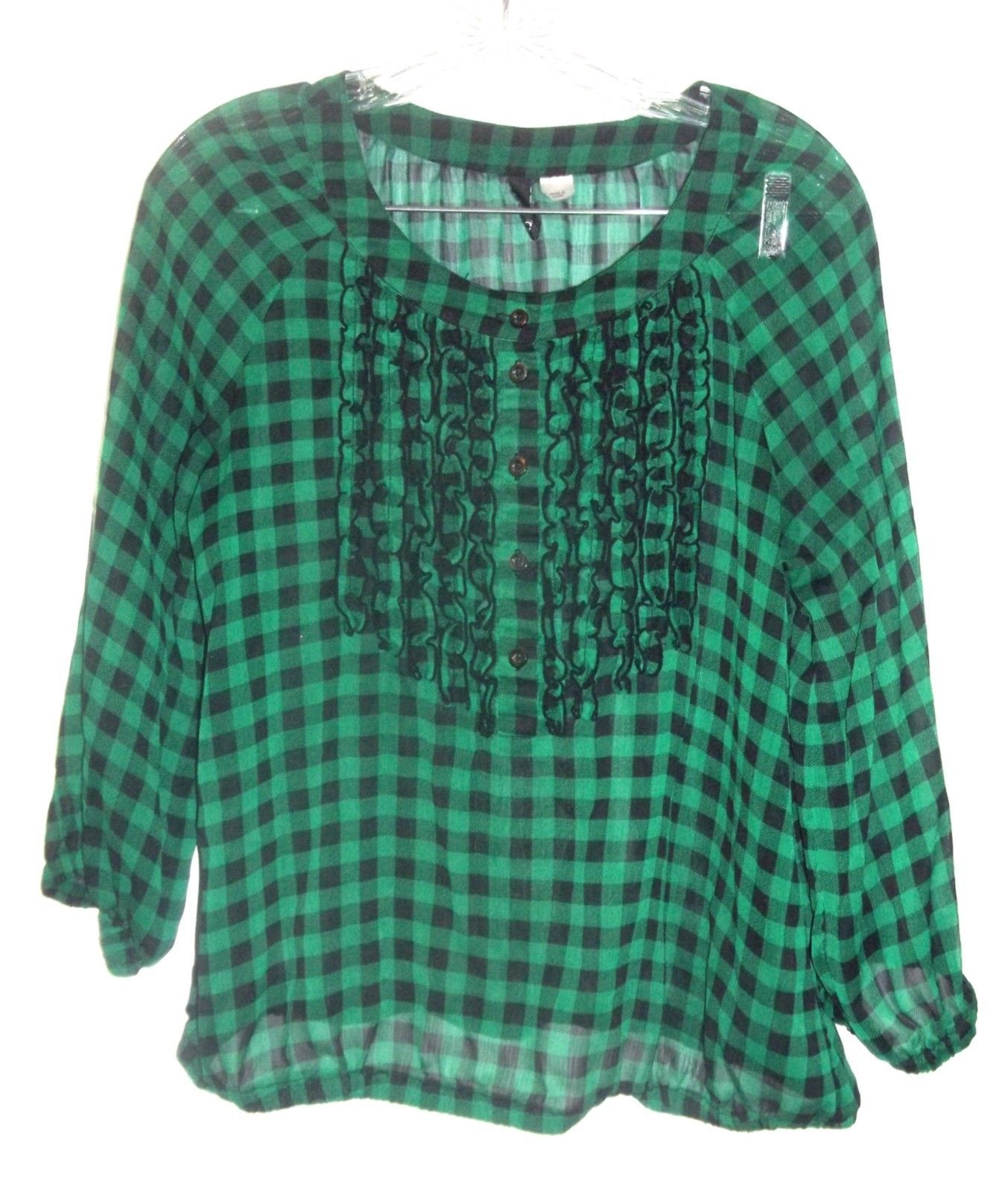 Green and Black Checkered Plaid Top Sheer Long Sleeve Top by Divided H&M Sz 10 - $25.64