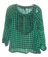 Green and Black Checkered Plaid Top Sheer Long Sleeve Top by Divided H&M... - $25.64