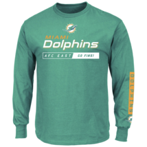 Majestic Men's NFL Primary Receiver Long-Sleeved Tee Dolphins M #NIO26-395 - $24.99