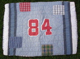 Pottery Barn Kids Sports Theme Quilted Pillow Sham Blue Red White Standard Size - $17.00