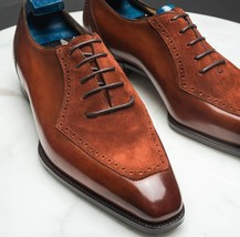 Handmade Men's Brown Suede & Leather Dress/Formal Oxford Shoesf image 1