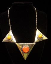 NEW Macys M Style Lab Goldtone Metal Triangle Necklace Orange & Yellow - $13.16
