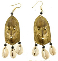 Vintage Pair Of Tribal Design Mask & Shell Drop Dangle Pierced Earrings ... - $53.99