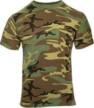 Woodland Camouflage Short Sleeve Military T-Shirt with Pocket - $11.99+