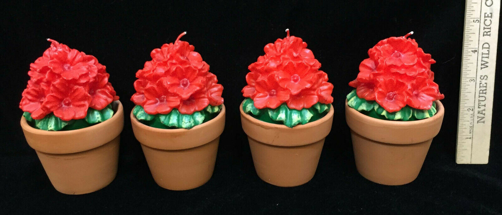 Primary image for Candles Set 4 Terra Cotta Pots Floral Flower Shaped Bush Plants Red Decorative