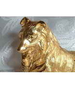 Vintage Trifari Dog Brooch Designer Gold Tone Collie Figural  - $22.95