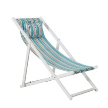 Folding Beach Chair White Wooden Reclining Outdoor Picnic Fabric Seat Ve... - $104.46