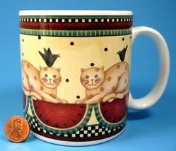 Debbie Mumm Mug Weathervane Country Cats Checks Watermelon 2000 - $12.00