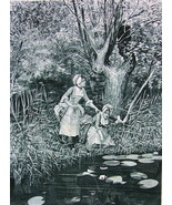 GIRLS Play with Paper Boat on Lake Pond Lilies - Victorian Era Antique P... - $14.40