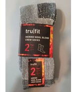 TRU FIT Merino Wool Blend Crew Socks Gray 2 Pair Warm Wicking Welt Tops ... - $22.23