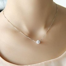 S925 pure silver necklace female short design crystal Shambhala ball cha... - $17.08