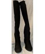 Liz Claiborne Black Suede Over The Knee 6M Block Heel Boots - $89.99
