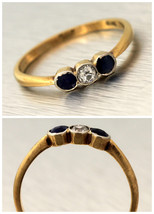 1920s Antique Art Deco Estate 18K Yellow Gold Sapphire Diamond Ring - $401.12