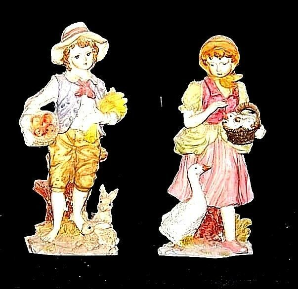 Figurines (Boy and Girl) AA18 - 1106 Vintage Pair