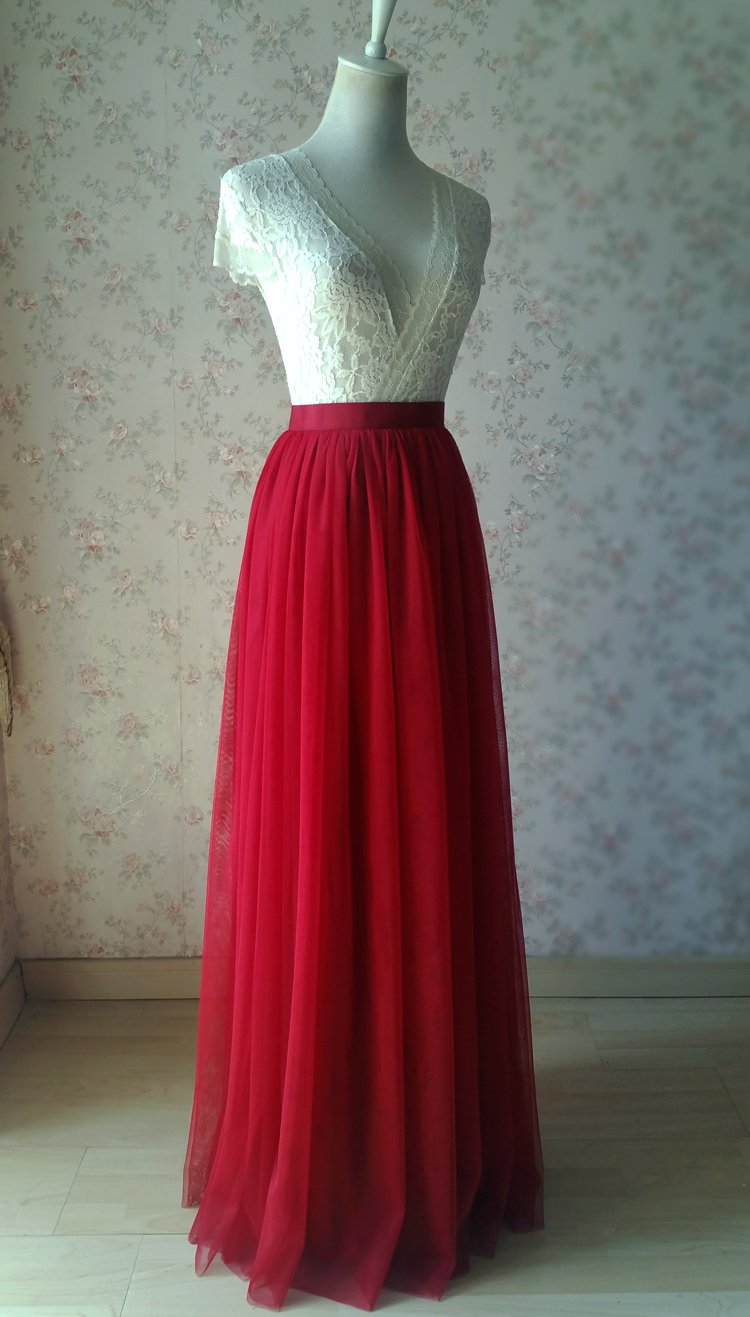 Red tulle maxi bridesmaid wedding skirt 38 750 11