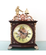 HERMLE Mantel Clock ANIMATED Feature TOP Vintage RED COPPER BRONZE Chime... - $1,095.00