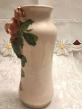 Antique Hand Made & Painted Sculpted Rose on a Ceramic Vase, Made In Italy image 5