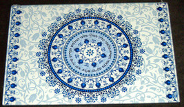 Judaica Challah Tray Board Reinforced Glass Shabbat Blessing Kiddush Floral Blue image 1