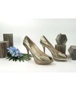 Christian Dior Miss Dior Gold Silver Snakeskin Platform Heels Size 39.5 ... - $222.26