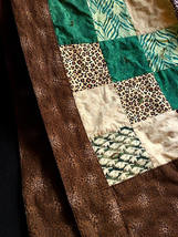 WILD LIFE Handmade Throw Quilt with Flannel Back Hand Tied Animal Jungle... - $45.99