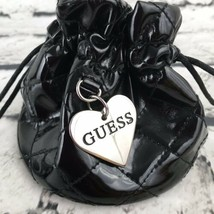 GUESS Watch Jewelry Gift Pouch Drawstring Black Quilted Bag with Guess Heart - £4.94 GBP