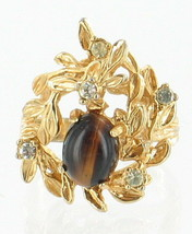 VINTAGE Mid Century 18KT GE TIGERS EYE LEAF ORGANIC RING COOL! SIZE 4 - $35.99