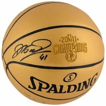 Dirk Nowitzki Signed Spalding 2011 NBA Finals Champs Gold Engraved Basketball Fa - $445.50