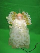 Vintage Angel Christmas Fiber Optics Tree Topper White & Gold Dress & Wings - $13.98