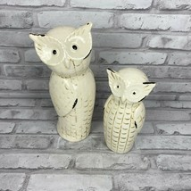 """Lot of 2 White Ceramic Owl Statues Figurines Ashland 11"""" and 8 """" - $19.20"""