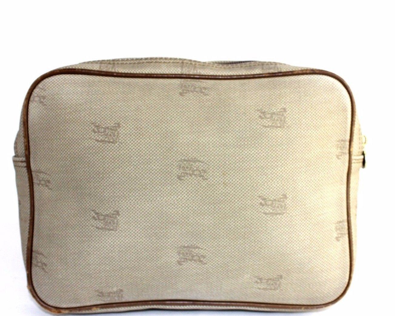 48a27036e544 Auth Burberrys London Monogram Canvas pattern Leather Beige Clutch bag  Vintage