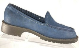 GH Bass Blue Suede Leather Loafers Womens Size 8 M Moc Toe Slip On Shoes - $38.87