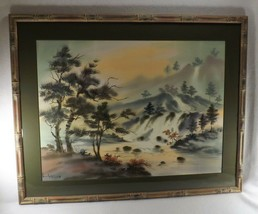 Large Japanese Painting on Silk Waterfall Landscape Framed Under Glass S... - $222.75