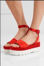 NWOB MIU MIU Red Satin Platform Sandals SZ 37.5 SS17 ITALY Dust Bag Incl... - $693.00
