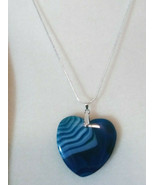 Necklace with Heart Shape Blue Banded Agate Pendant  Sterling Sliver Chain - $19.79