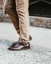 Mens Frye Boots Sam Harness Hardware Dark Brown Zip Leather Ankle 9.5 10 13 $328 - $2.087,80 MXN+