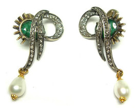 Victorian 1.31ct Rose Cut Diamond Emerald Pearl Very Nice Wedding Earrings - $314.16