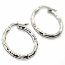 18K WHITE GOLD CIRCLE HOOPS TWISTED STRIPED EARRINGS 20 MM, 2 MM THICK, ITALY image 2